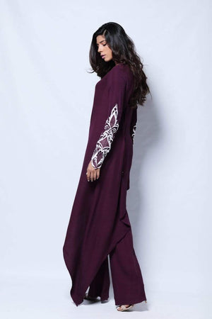 Natasha Kamal - Violet Plum Asymmetrical Tunic With Embroidered Sleeves With Georgette Trouser