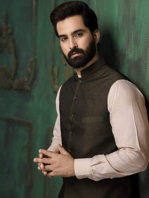 Khas Stores - Stitched Green Waistcoat W-4001