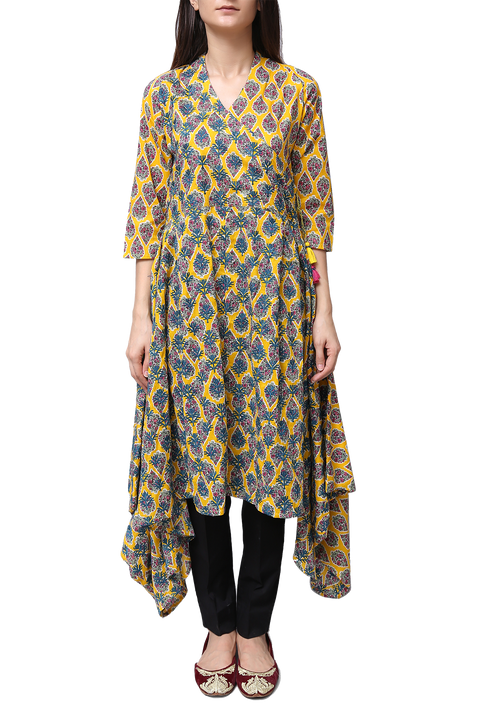 Generation - Yellow Voile Printed Wrap Tunic
