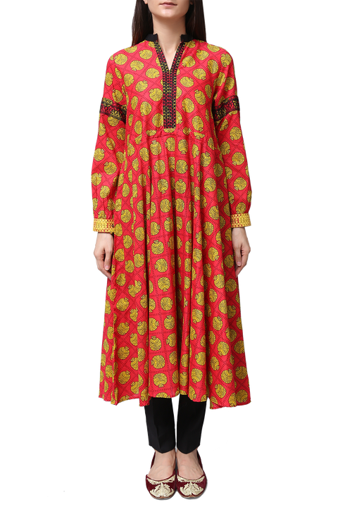 Generation - Red Voile Printed Long Dress