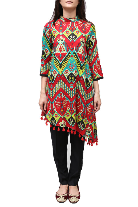 Generation - Red Printed Asymmetrical Tunic