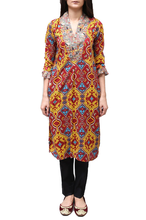 Generation - Red Art Trade V Neck Kameez