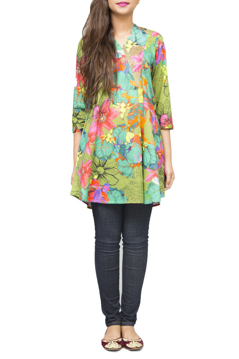 Generation - Green Voile Printed Shirt