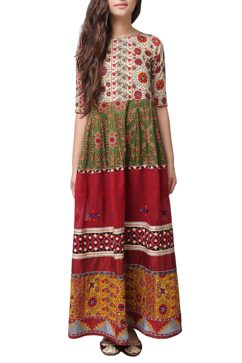 Generation - Green Suzankari Long Voile Dress
