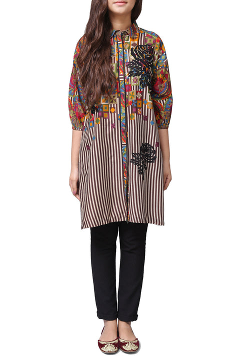 Generation - Brown Quilt Storm Collar Voile Kameez