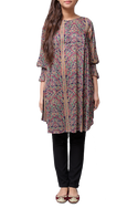 Generation - Purple Viscose Loose Fitting Printed Tunic