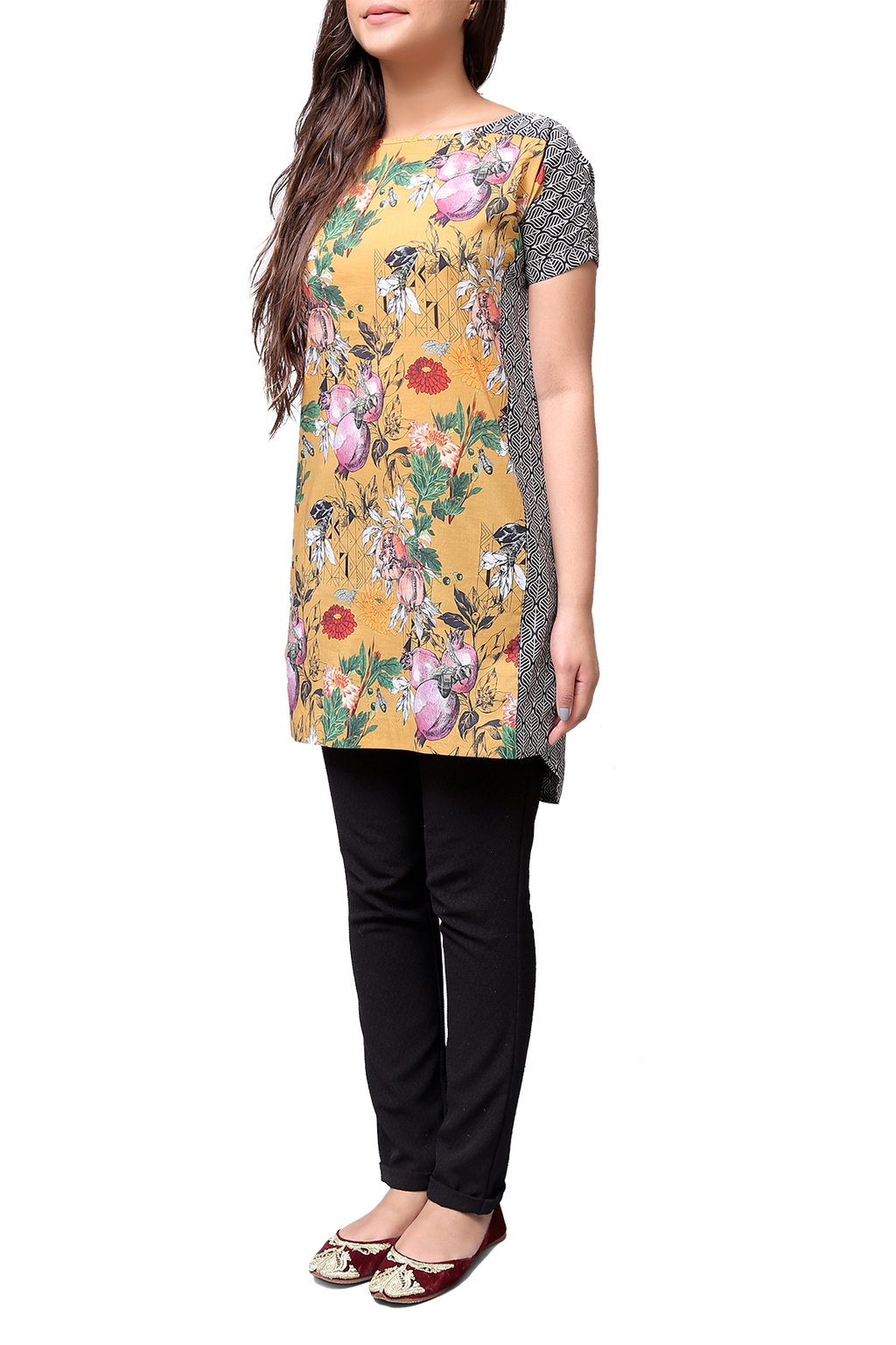 Generation - Yellow Voile Wander Plant Batwing Tunic