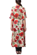 Generation - Beige Floating Poppies Long Dobby Dress
