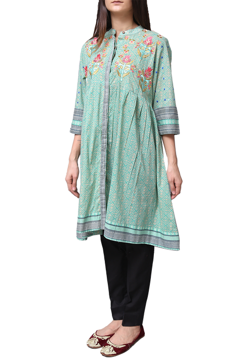 Generation - Green Voile Button Down Flare Tunic