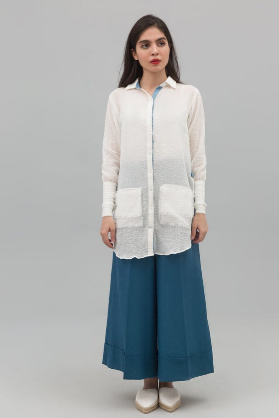 Yesonline.Pk - White Button Down Fusion Shirt In Crinkle Cotton