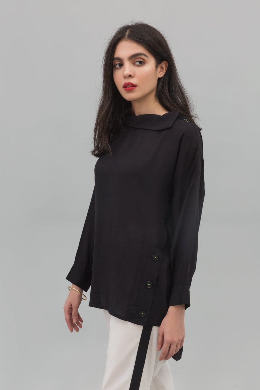 Yesonline.Pk - Black Cowl Neck Fusion Shirt In Blended Linen