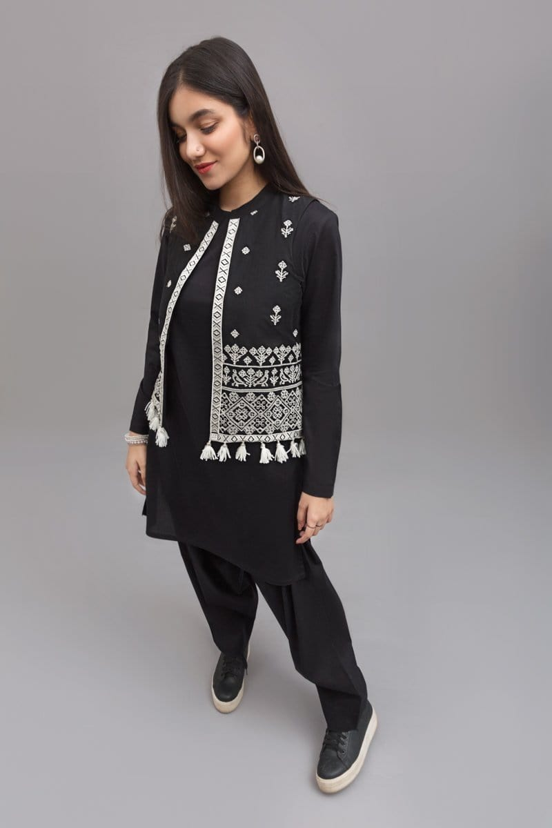 YES - Black Traditional jacket- White Embroidery , 100% Cotton