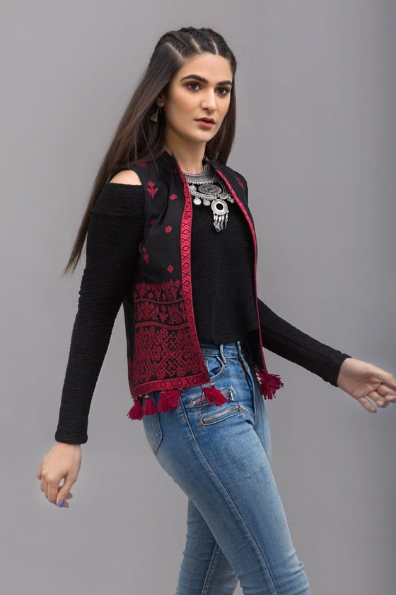 YES - Black Traditional jacket  - Red Embroidery , 100% Cotton