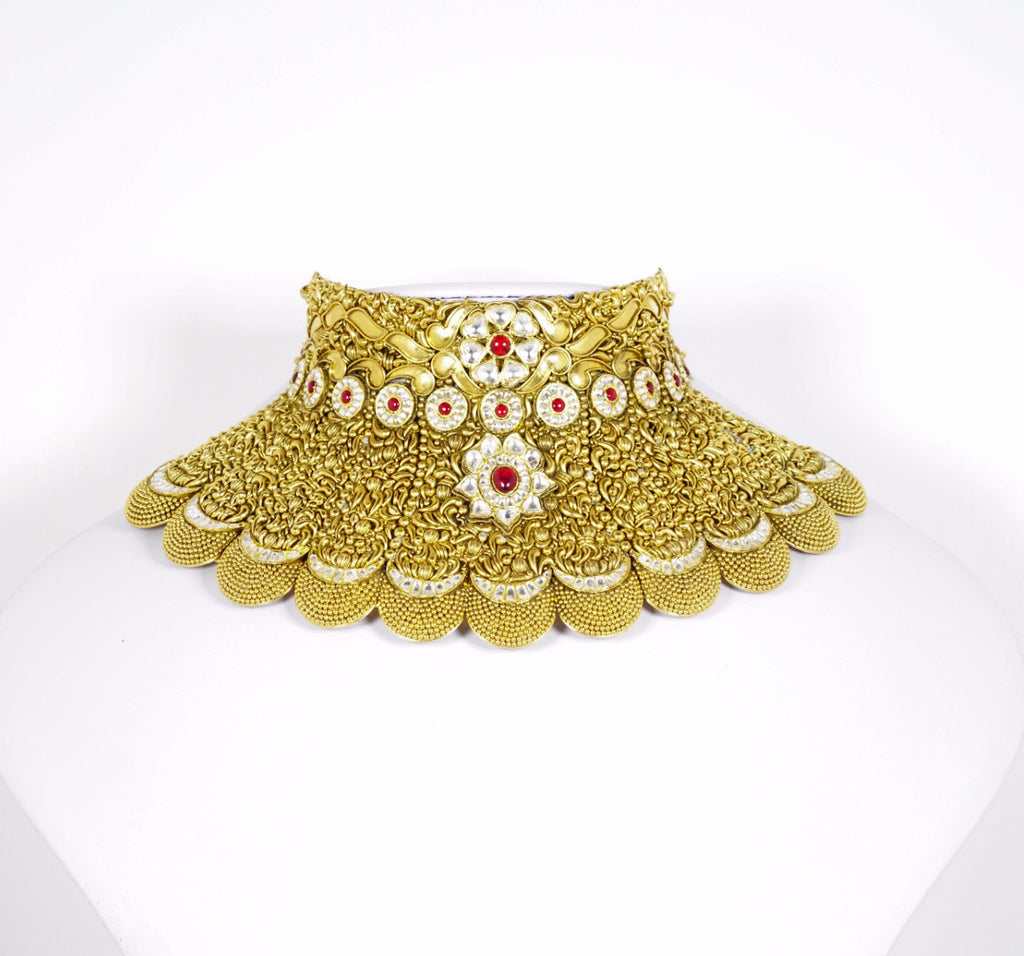 Red Dot Jewels - Sterling Silver & Gold Plated Choker With Earrings