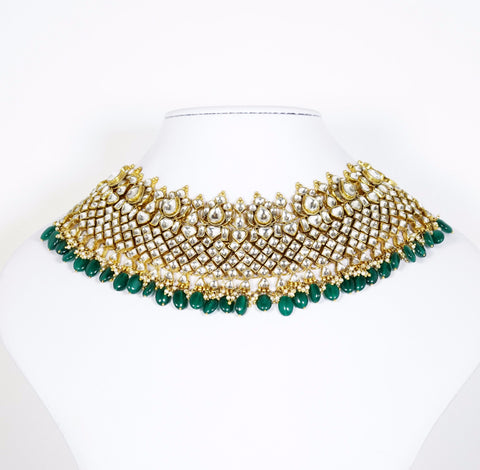 Red Dot Jewels - Green Beads Kundan Necklace With Earrings & Tikka