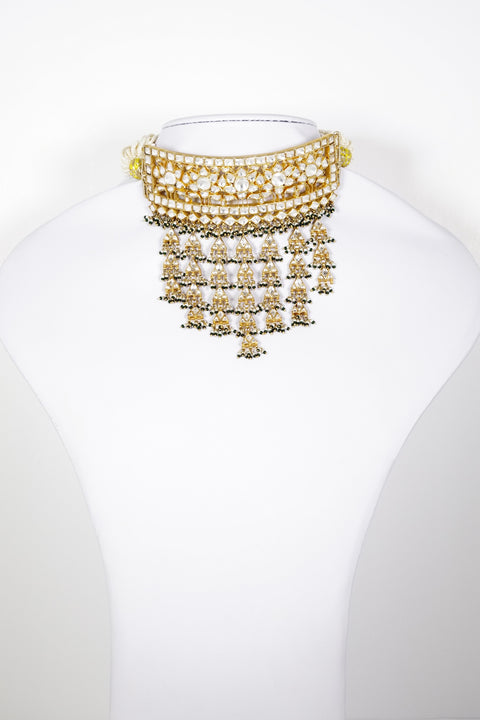 Red Dot Jewels - Gold Plated Pure Silver Choker With Earrings