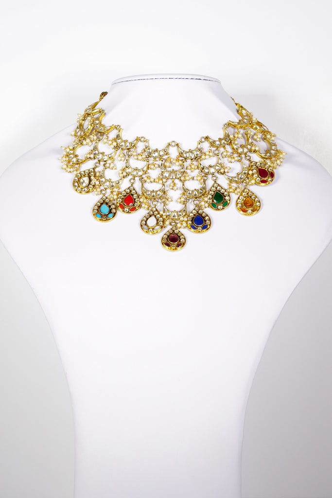 Red Dot Jewels - Multi Colored Navratan Necklace With Earrings