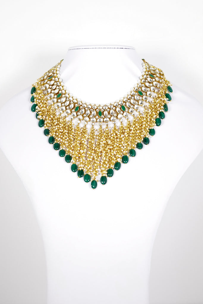 Red Dot Jewels - Green & Golden Necklace With Earrings