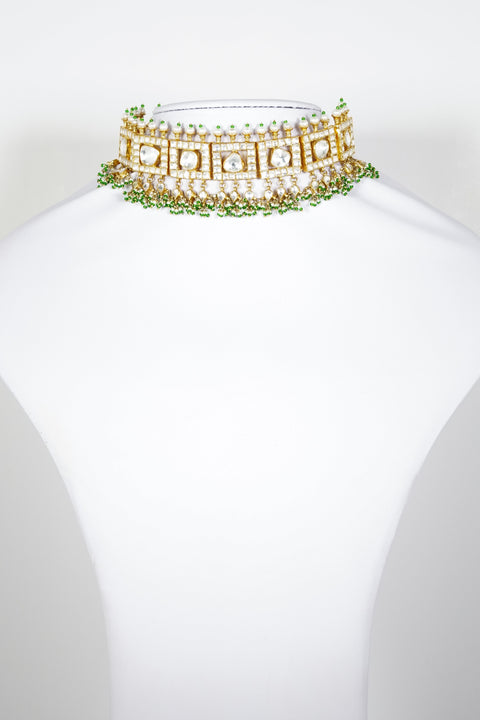 Red Dot Jewels - Sterling Silver Gold Plated Choker With Green Pearls