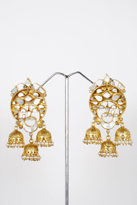 Red Dot Jewels - Sterling Silver Gold Plated Earrings With Mother Of Pearls