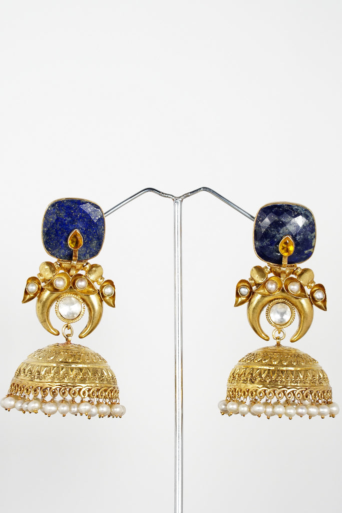 Red Dot Jewels - Sterling Silver Gold Plated Earrings With Lapis Lazuli