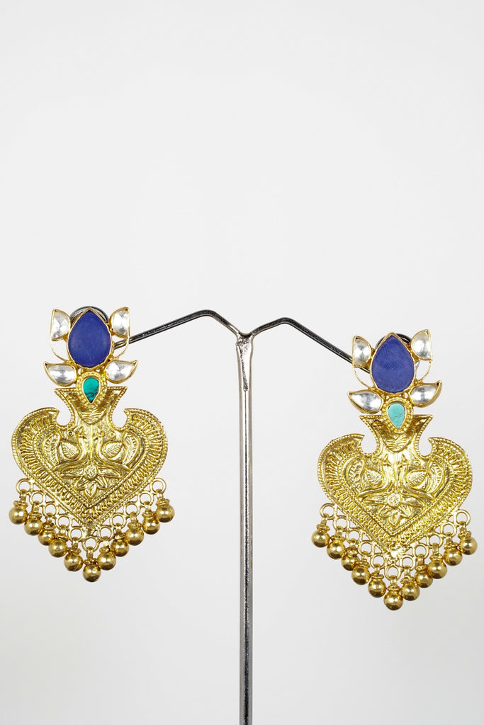 Red Dot Jewels - Kundan Earrings With Green Onyx Drops