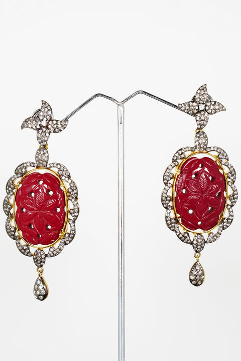 Red Dot Jewels - Metal Earrings With Hand Carved Stone And Crystal