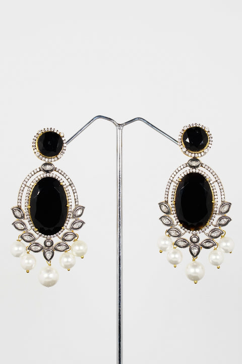 Red Dot Jewels - Metal Earrings With Black Onyx Stone, Faux Pearls And Crystal