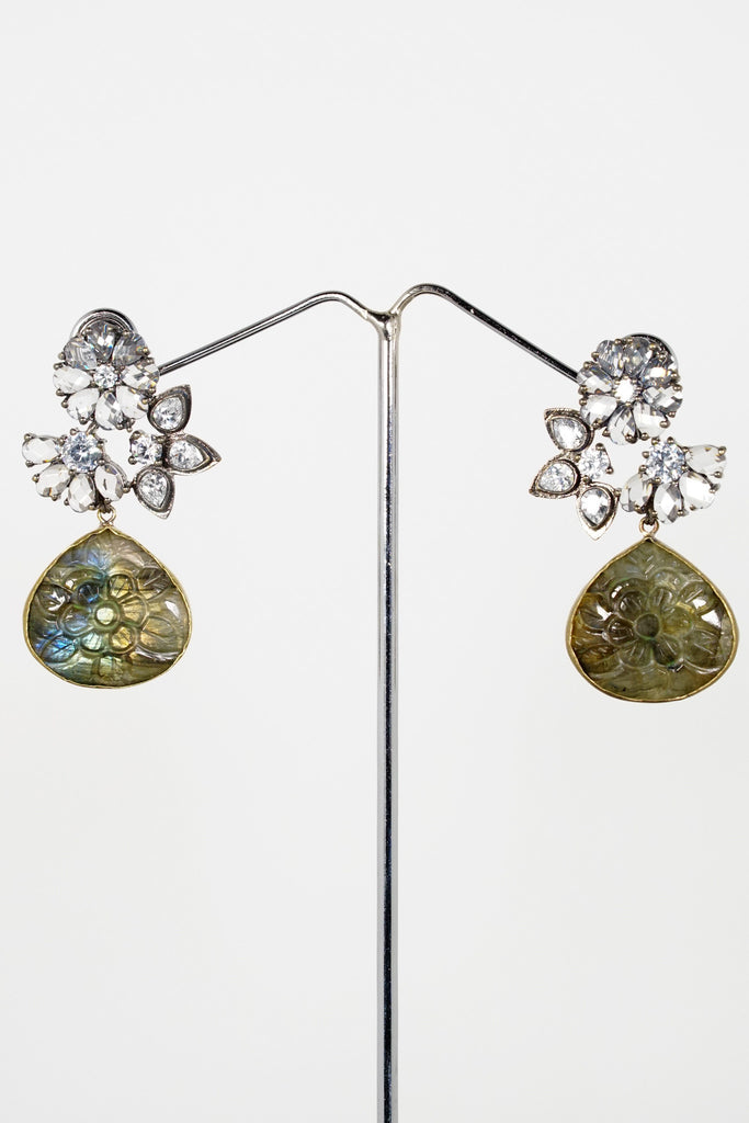 Red Dot Jewels - Metal Earrings With Carved Labradorite Crystal
