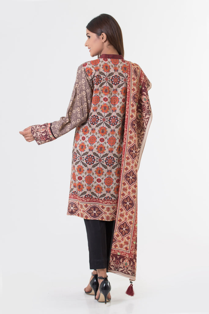 Bonanza Satrangi - Brown Viscose Shirt & Dupatta (Stitched) Clearance Sale