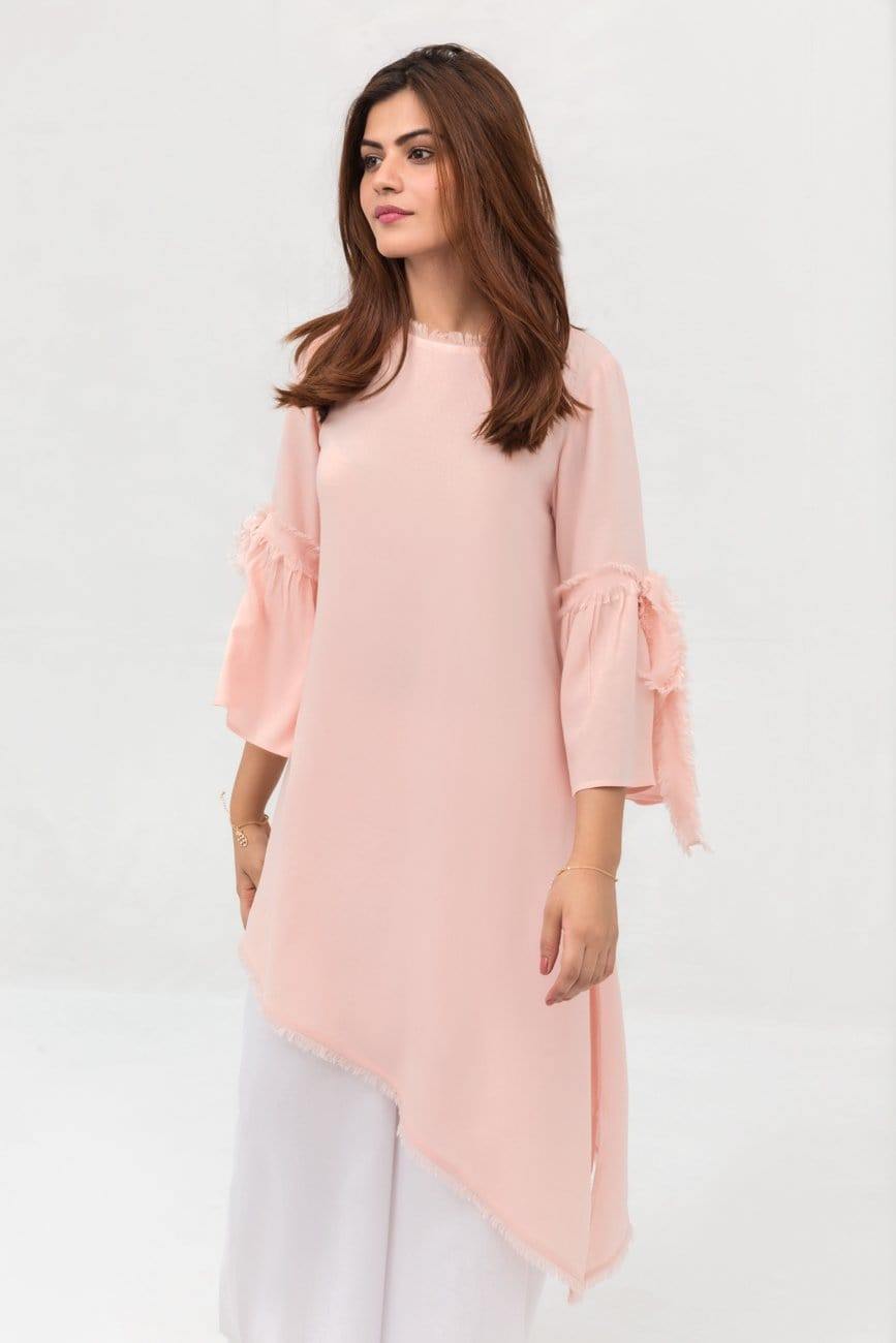 Yesonline.Pk - Pink Side Down Long Shirt In Crepe Fabric With Long Length