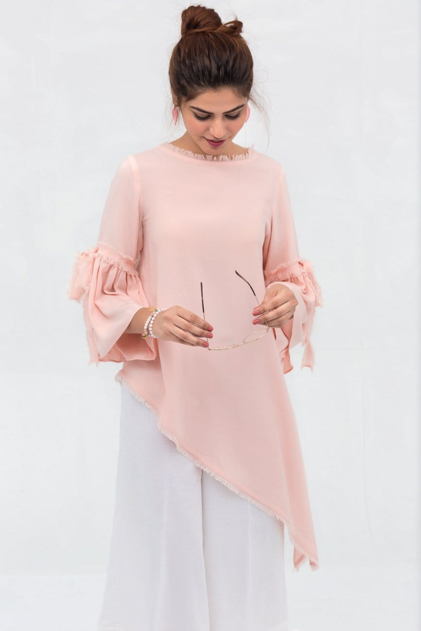 Yesonline.Pk - Pink Side Down Long Shirt In Crepe Fabric With Short Length