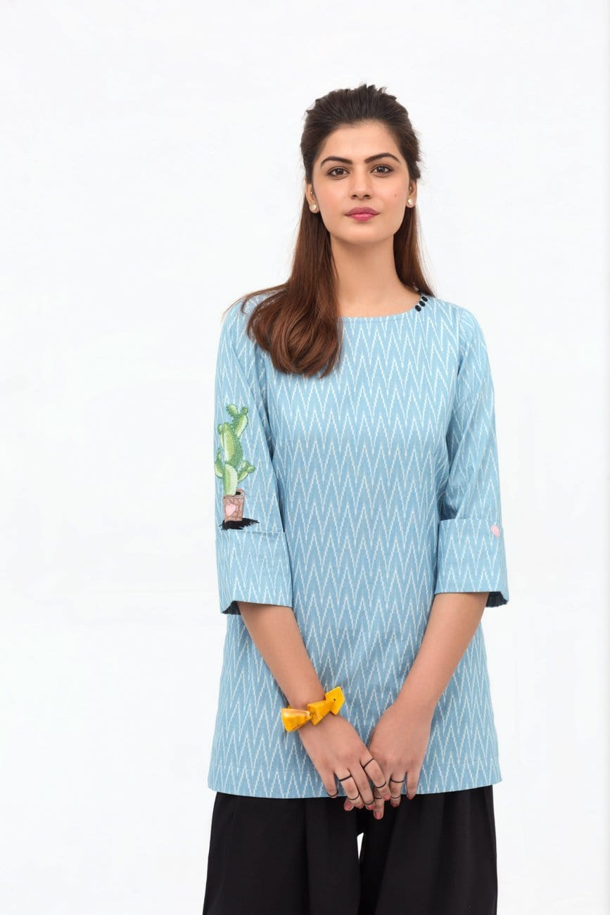 YES - Light Blue Double Cuff Shirt In Cotton with Long Length
