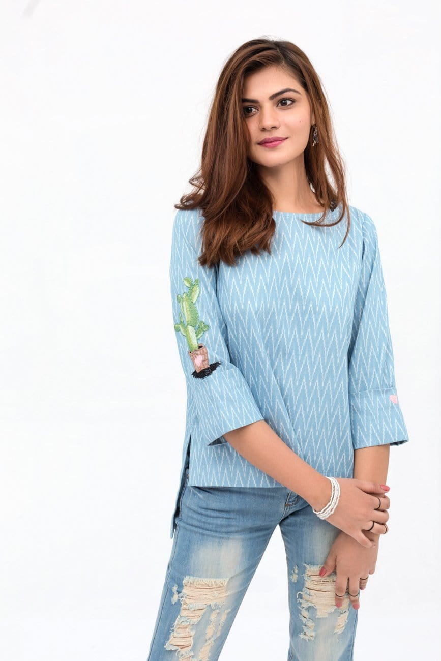 YES - Light Blue Double Cuff Shirt In Cotton with Short Length