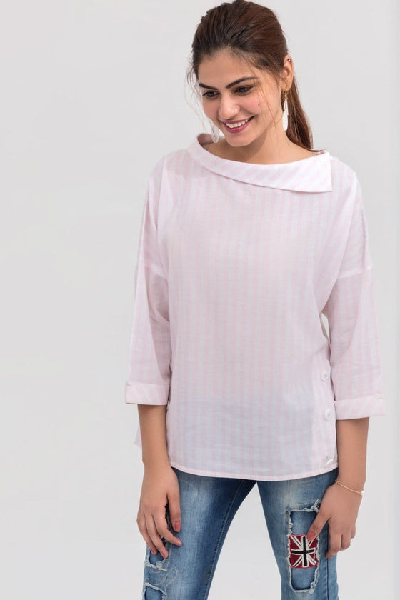 YES - Pink Cowl Neck Short Length Fusion Shirt in Cotton Rich
