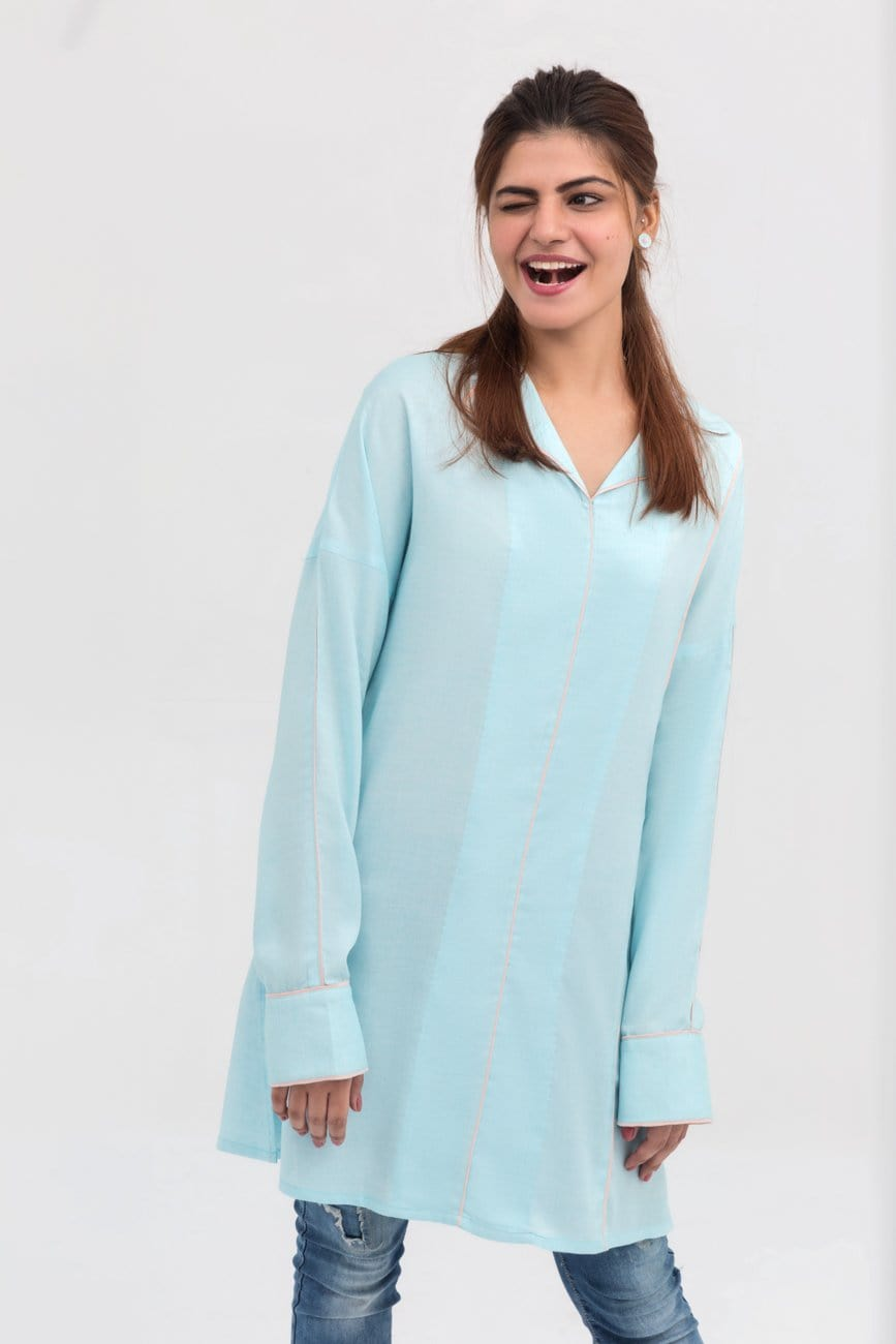 Yesonline.Pk - Light Blue Lapel Shirt Long Length in Cotton Rich