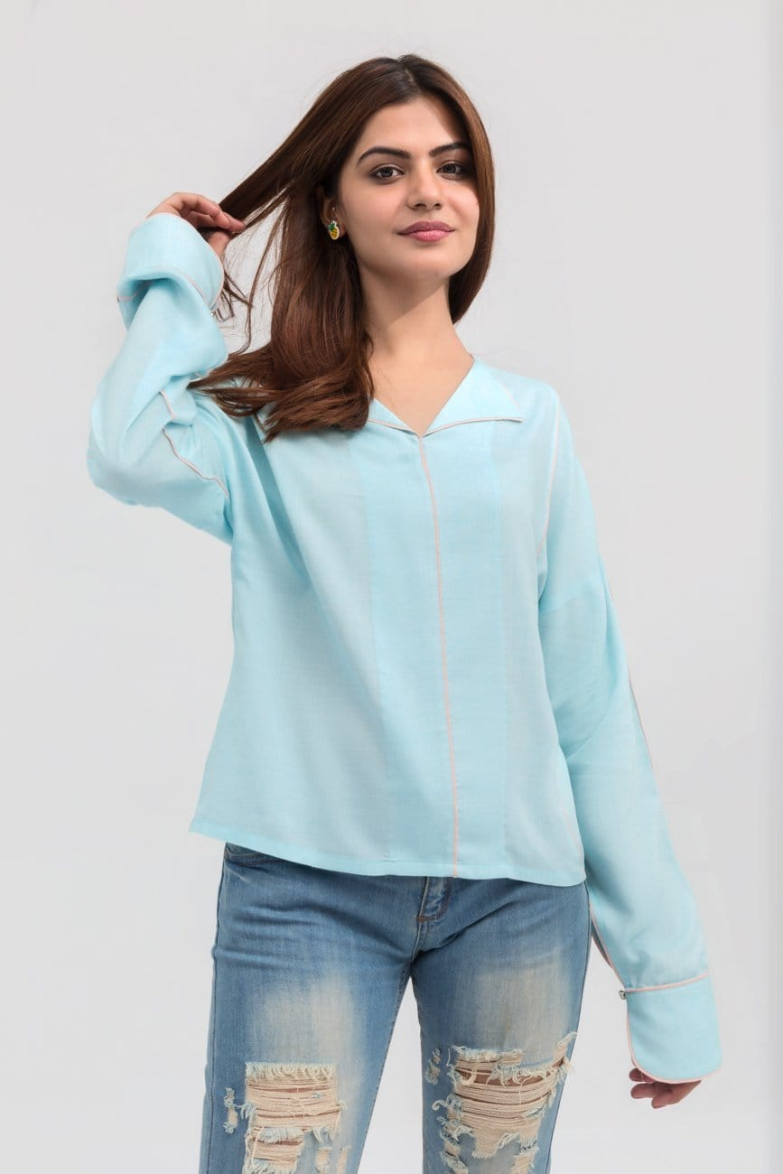 YES - Light Blue Lapel Shirt Short Length in Cotton Rich