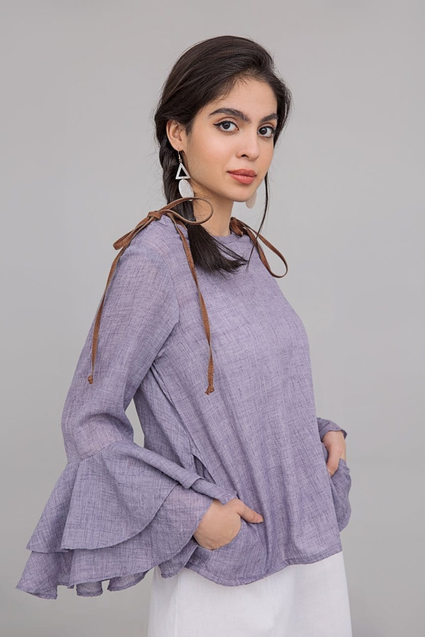 YES - Purple Ruffel Shirt short Length in 100% Cotton