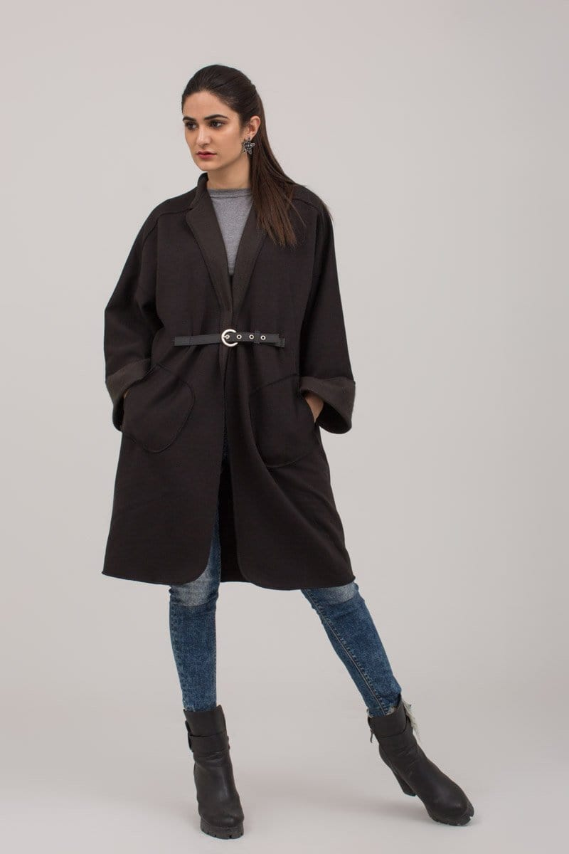 YES - Black Fleece Winter Sweat Cardigan With Leather belt