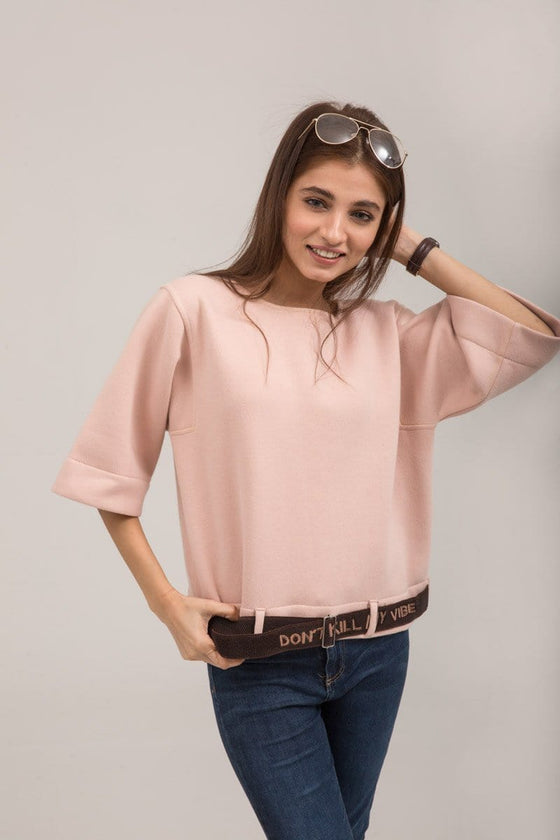 YES - Pink Crew neck sweat shirt with Belt