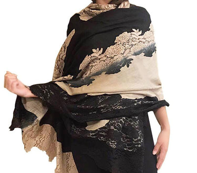 Amishi - Nude & Black Shaded Two Tone Scarf