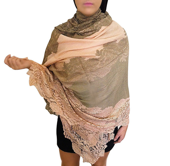 Amishi - Peach & Beige Two Tone Scarf