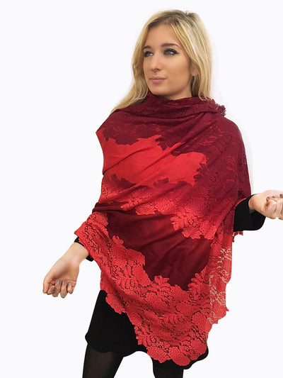 Amishi - Red Shaded Two Tone Scarf