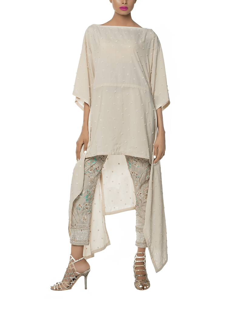 Mahgul - Ivory Hand Worked Georgette Shirt With Worked Pants