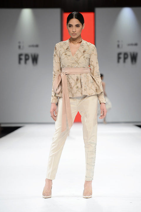 Tena Durrani - Nude Pink Zion Embroidered Net Jacket With Silk Inner & Silk Pants