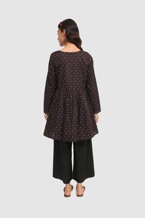 Generation - Black Taary Tilla Detailed Frock - 1 PC