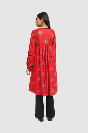Generation - Maroon Suri Printblocked frock - 1 PC