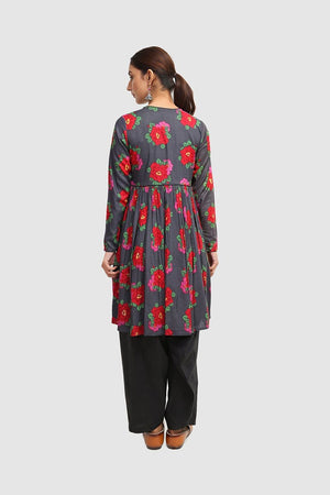 Generation - Dark Grey Suri Angrakha Frock - 1 PC