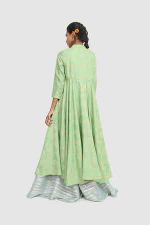 Generation - Green Kanwal Button Down Flared Dress - 1 PC