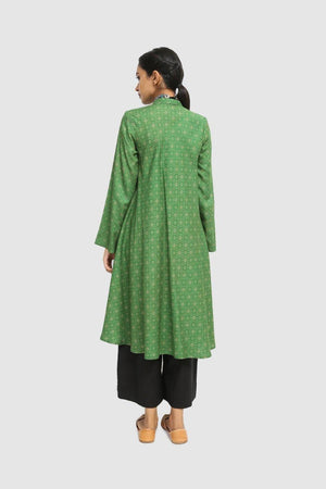 Generation - Green Satin Sheen Flared Shirt - 1 PC